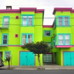 neon green apartment building in San Francisco, California