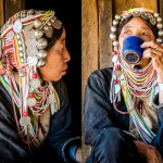 Myanmar tribe woman with headgear.
