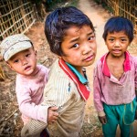 Myanmar photography. Poor village boys.